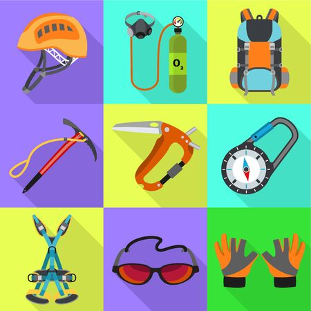 Hiking tools icon set. Flat set of 9 hiking tools icons for web design isolated on white background Фото со стока