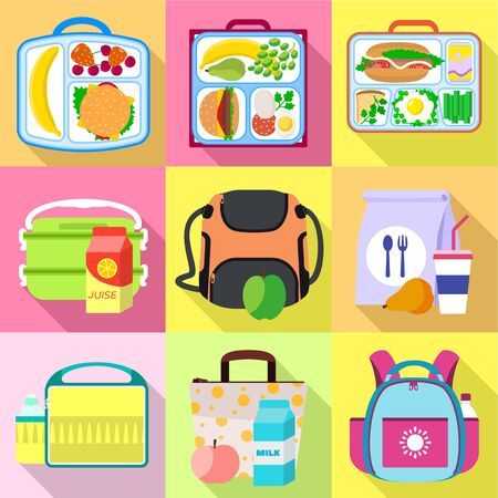School lunch bag icon set. Flat set of 9 school lunch bag icons for web design isolated on white background Banco de Imagens