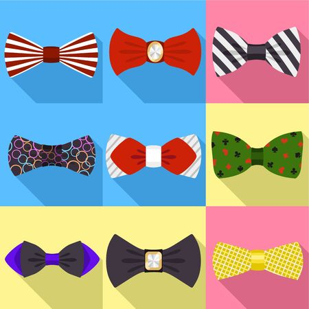 Bow tie icon set. Flat set of 9 bow tie icons for web design isolated on white background