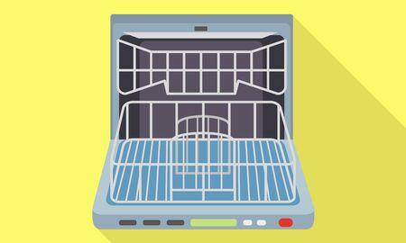 Empty open dishwasher icon. Flat illustration of empty open dishwasher icon for web design
