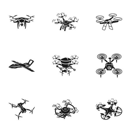 Flying drone icon set. Simple set of 9 flying drone icons for web design isolated on white background