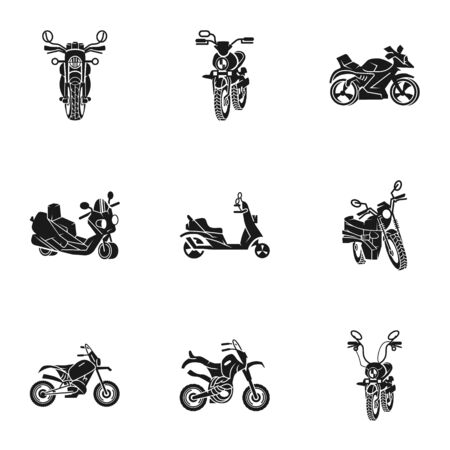 Motorcycle icon set. Simple set of 9 motorcycle icons for web design isolated on white background