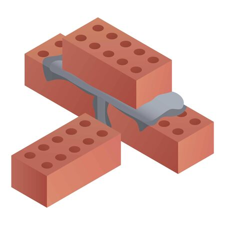 Construction bricks icon. Isometric of construction bricks icon for web design isolated on white background Stock Photo