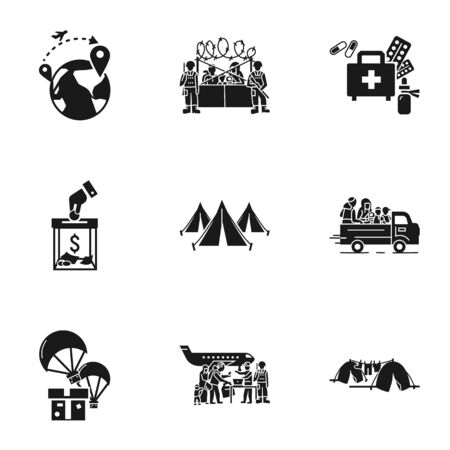 Refugees process icon set. Simple set of 9 refugees process icons for web design isolated on white background