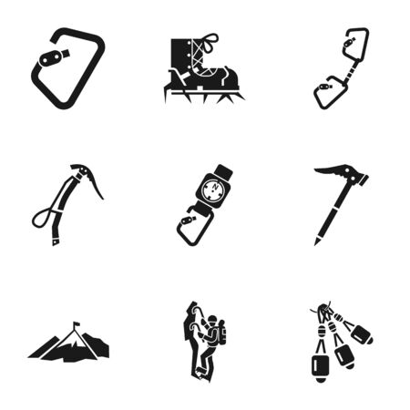 Climbing icon set. Simple set of 9 climbing icons for web design isolated on white background Фото со стока