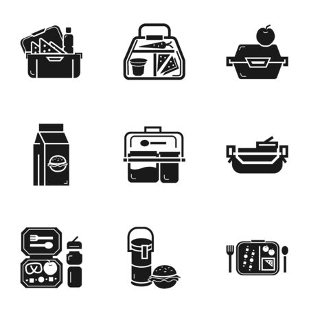 Lunch bag icon set. Simple set of 9 lunch bag icons for web design isolated on white background Banco de Imagens