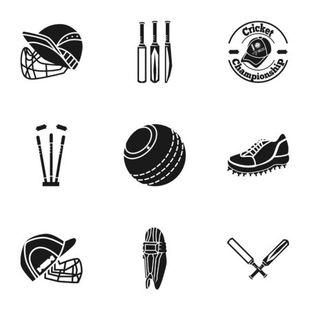Cricket equipment icon set. Simple set of 9 cricket equipment icons for web design isolated on white background