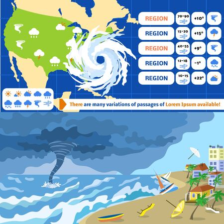 Hurricane storm banner set. Flat illustration of hurricane storm banner set for web design