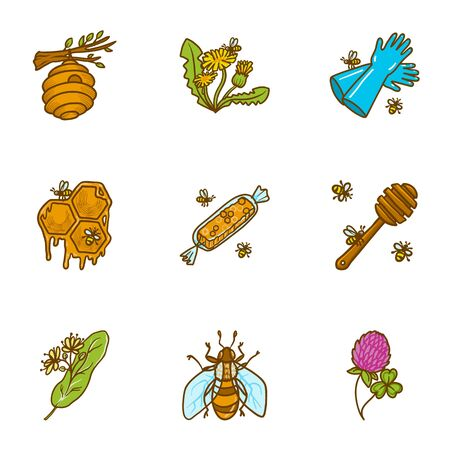 Natural honey icon set. Hand drawn set of 9 natural honey icons for web design isolated on white background Zdjęcie Seryjne