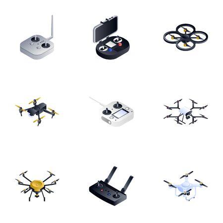 Drone remote control icon set. Isometric set of 9 drone remote control icons for web design isolated on white background Stok Fotoğraf