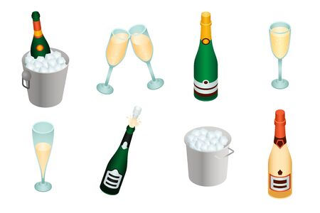 Champagne icons set. Isometric set of champagne icons for web design isolated on white background
