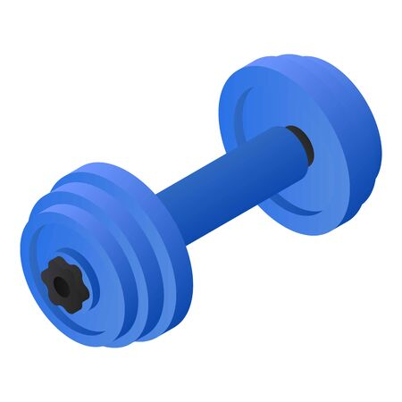 Blue dumbbell icon. Isometric of blue dumbbell icon for web design isolated on white background