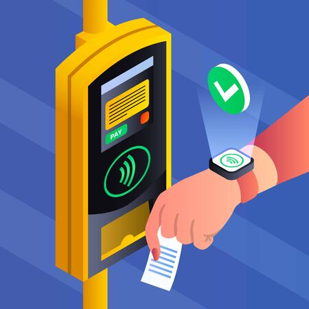 Public transport nfc payment concept background. Isometric illustration of public transport nfc payment concept background for web design