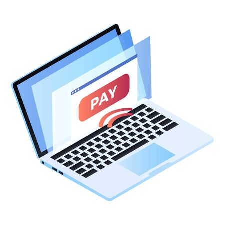 Laptop web pay icon. Isometric of laptop web pay icon for web design isolated on white background