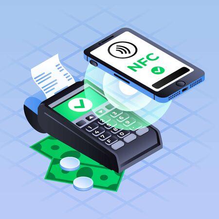 Smartphone nfc payment concept background. Isometric illustration of smartphone nfc payment concept background for web design Stok Fotoğraf