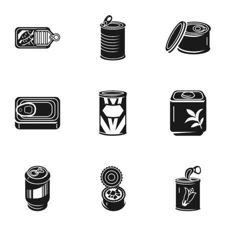 Canned food icon set. Simple set of 9 canned food icons for web design isolated on white background Stok Fotoğraf