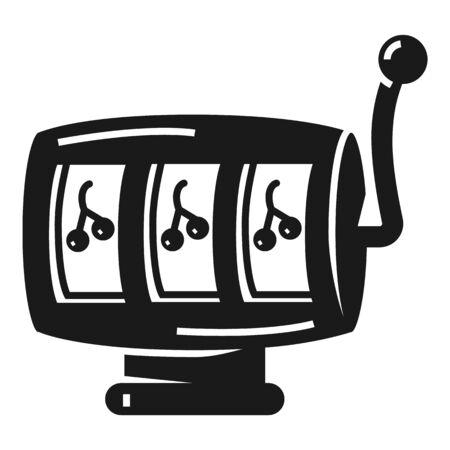Slot cherry machine icon. Simple illustration of slot cherry machine icon for web design isolated on white background Фото со стока