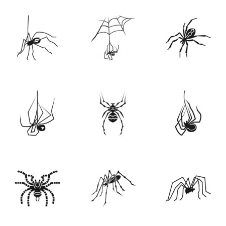 Horror spider icon set. Simple set of 9 horror spider icons for web design isolated on white background
