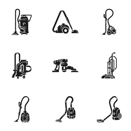 Home vacuum cleaner icon set. Simple set of 9 home vacuum cleaner icons for web design isolated on white background