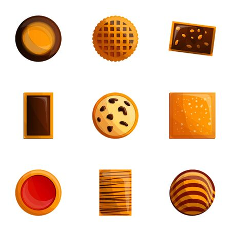 Biscuits icon set. Cartoon set of 9 biscuits icons for web design isolated on white background
