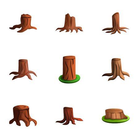 Tree stump icon set. Cartoon set of 9 tree stump icons for web design isolated on white background