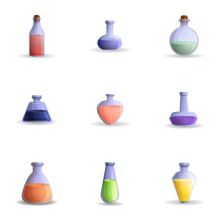 Colorful potion icon set. Cartoon set of 9 colorful potion icons for web design isolated on white background