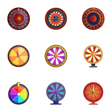 Fortune wheel icon set. Cartoon set of 9 fortune wheel icons for web design isolated on white background