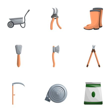 Garden work tools icon set. Cartoon set of 9 garden work tools icons for web design isolated on white background