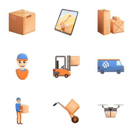 Parcel delivery icon set. Cartoon set of 9 parcel delivery icons for web design isolated on white background