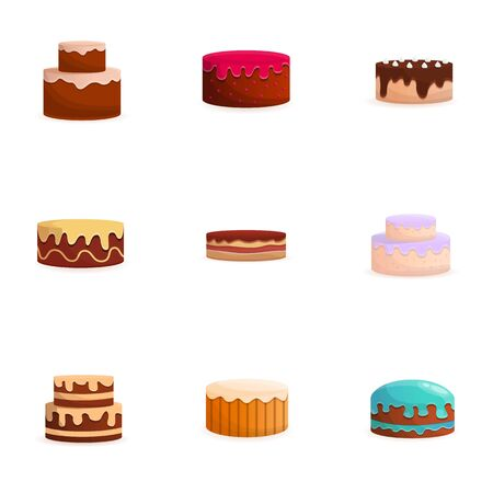 Cake icon set. Cartoon set of 9 cake icons for web design isolated on white background 写真素材 - 131874834