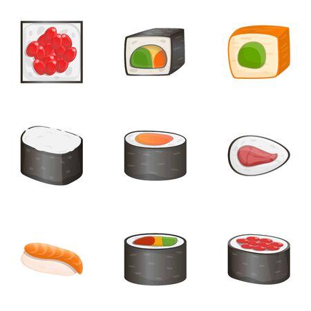 Sushi icon set. Cartoon set of 9 sushi icons for web design isolated on white background