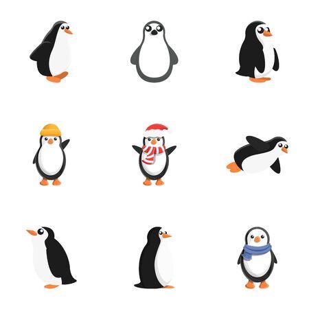 Penguin baby icon set. Cartoon set of 9 penguin baby icons for web design isolated on white background Фото со стока
