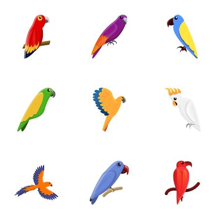 Parrot icon set. Cartoon set of 9 parrot icons for web design isolated on white background