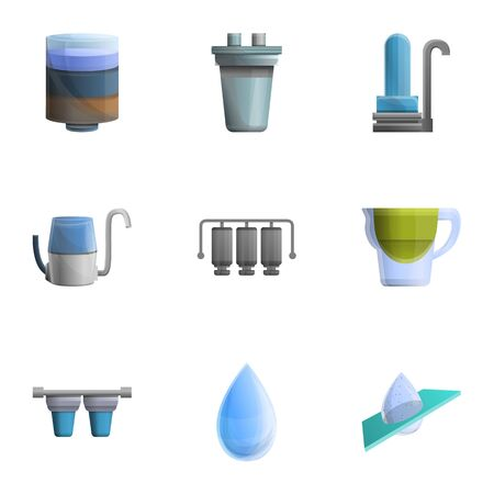 Water filter icon set. Cartoon set of 9 water filter icons for web design isolated on white background