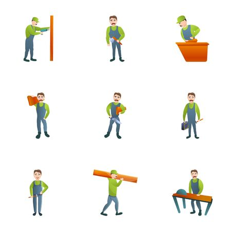 Lumberjack icon set. Cartoon set of 9 lumberjack icons for web design isolated on white background