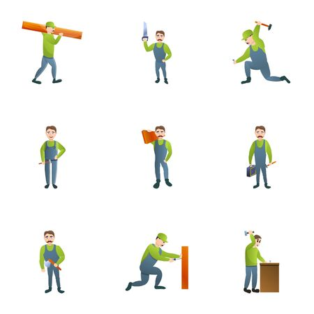 Carpenter icon set. Cartoon set of 9 carpenter icons for web design isolated on white background