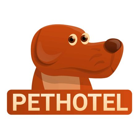 Dog hotel icon. Cartoon of dog hotel icon for web design isolated on white background 스톡 콘텐츠
