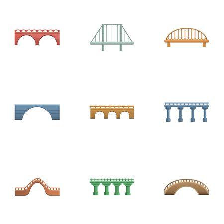 Bridge icon set. Cartoon set of 9 bridge icons for web design isolated on white background