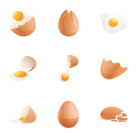Chicken eggshell icon set. Cartoon set of 9 chicken eggshell icons for web design isolated on white background Фото со стока - 132309268