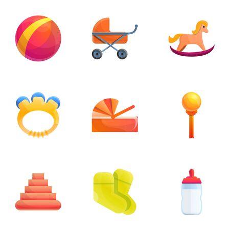 Kid toys icon set. Cartoon set of 9 kid toys icons for web design isolated on white background