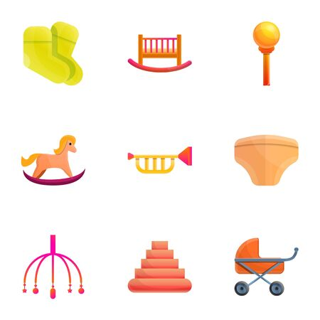 Baby toy icon set. Cartoon set of 9 baby toy icons for web design isolated on white background