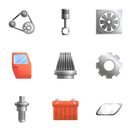 Car parts icon set. Cartoon set of 9 car parts icons for web design isolated on white background Фото со стока