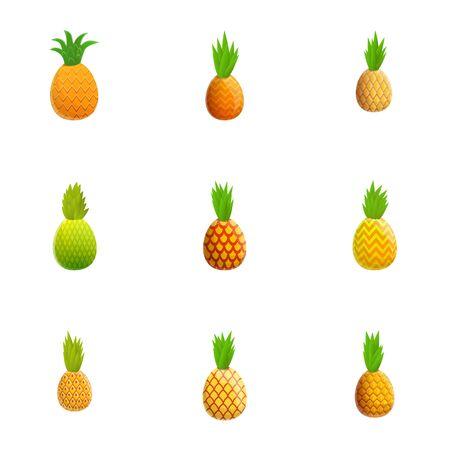 Fresh pineapple icon set. Cartoon set of 9 fresh pineapple icons for web design isolated on white background