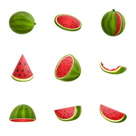 Watermelon icon set. Cartoon set of 9 watermelon icons for web design isolated on white background