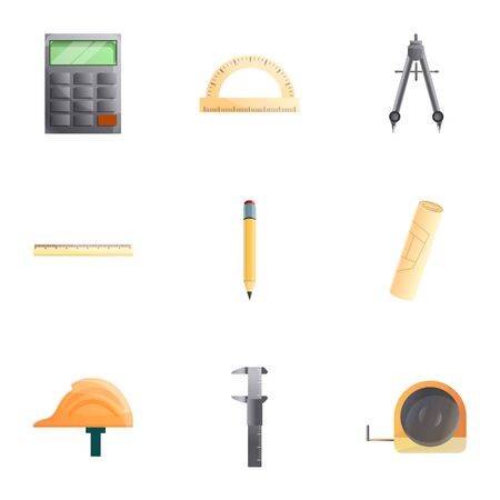 Engineer tools icon set. Cartoon set of 9 engineer tools icons for web design isolated on white background Archivio Fotografico - 131874762