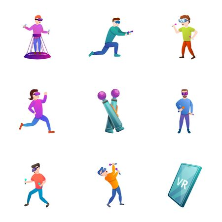 Virtual reality icon set. Cartoon set of 9 virtual reality icons for web design isolated on white background Stockfoto