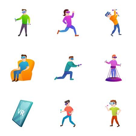 Vr headset icon set. Cartoon set of 9 vr headset icons for web design isolated on white background