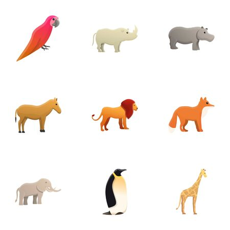 City zoo animals icon set. Cartoon set of 9 city zoo animals icons for web design isolated on white background