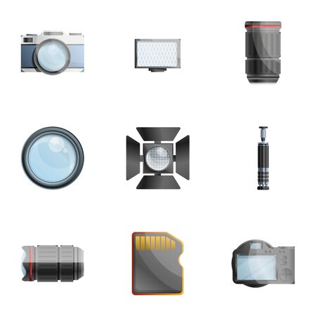 Photographer tools icon set. Cartoon set of 9 photographer tools icons for web design isolated on white background