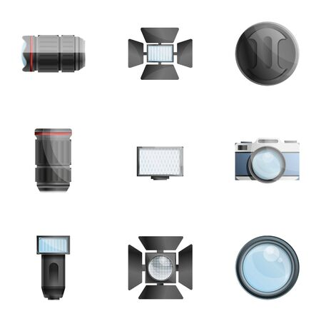 Photographer equipment icon set. Cartoon set of 9 photographer equipment icons for web design isolated on white background